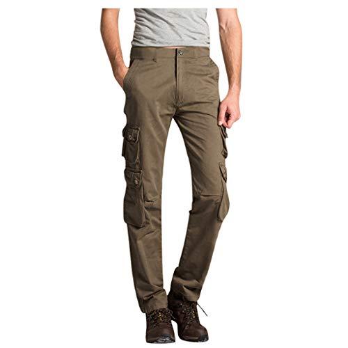 hositor Mens Work Pants, Summer Fashion Mid-Rise Men's Longs Loose Casual Multi-Pocket Tooling Pants Khaki