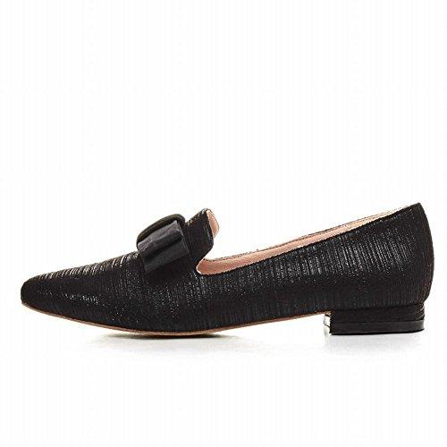 Mee Shoes Damen flach spitz ohne Verschluss Pumps Schwarz