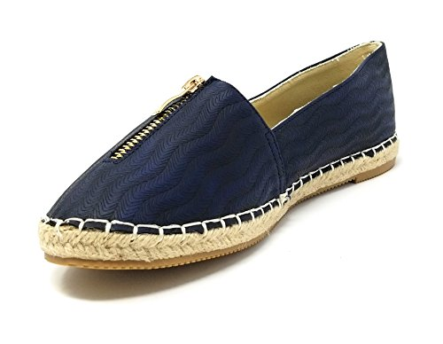 Design Smocking Espadrille Young Shoes Loafer Slippers Slip Navy Forever zipper On Women Original W Flats EOTSzq