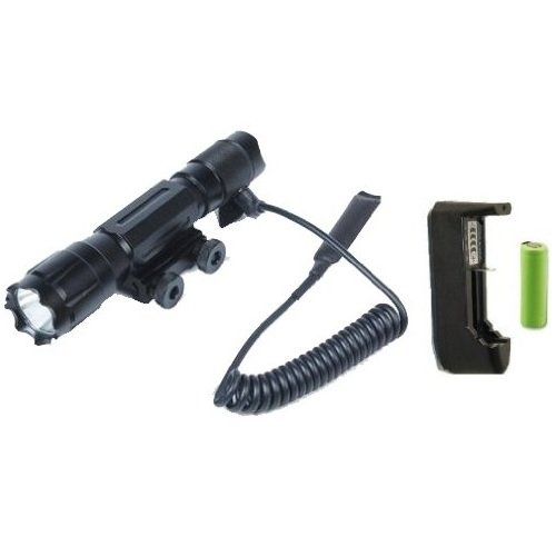 Ultimate Arms Gear Tactical Rechargeable 130 Lumens LED Military Flashlight LED Tac - Light Kit With Strobe Feature For AR15 AR-15 M4M-4 M16M-16 Rifle With A 78 Weaver-Picatinny Rail Includes Integral Weaver-Picatinny Mount Remote Pressure Swi