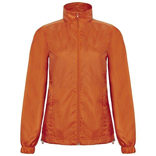 B&C - Chaqueta cortavientos impermeable modelo ID.601 con capucha para mujer Gris oscuro