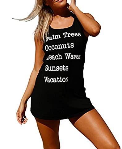 Shawhuwa Womens Sexy Summer Tank Swim Cover Up Beach T-shirt Dress L Black - Long Graphic