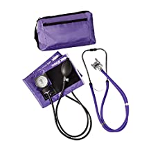MABIS MatchMates Aneroid Sphygmomanometer and Sprague Rappaport Stethoscope Combination Manual Blood Pressure Kit with Calibrated Nylon Cuff, Purple