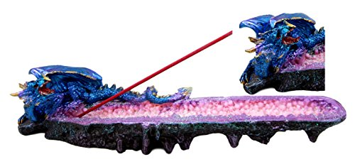 Atlantic Collectibles Quartz Crystal Azurite Guardian Dragon Incense Holder Figurine 10.75