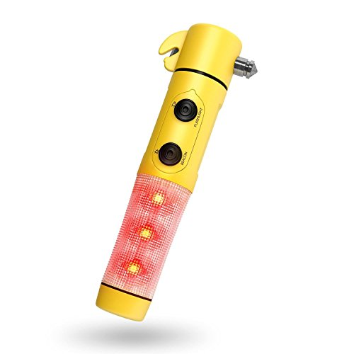 Hands Free Seat Belt Light (Tianmei 5in1 Multi-Function Emergency Rescue Car Seat Belt Cutter Magnets Safety Hammer Breaker Flashlight Distress signal Light Disaster Escape Tool (5in1-Yellow))