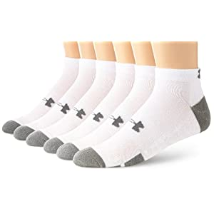 Under Armour Men's Resistor Low-Cut Socks, White, Large, 6-pack