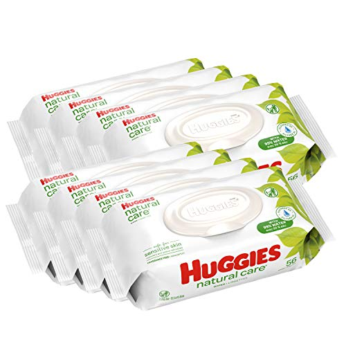 HUGGIES Natural Care Unscented Baby Wipes, Sensitive, 8 Flip-top Packs, 448 Count ()