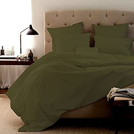 100 Egyptian Cotton Duvet Set 600 Thread Count Solid Created Queen Olive By Fantasy Nap