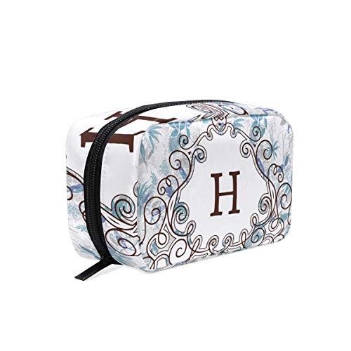 Monogram Canvas Jewelry Case - Floral Monogram Makeup Bag Organizer Portable Cosmetic Pouch Handbag With Zipper For Women Purse