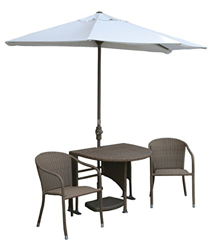 Wall Natural Olefin Umbrella (Blue Star Group Terrace Mates Adena All-Weather Wicker Coffee Color Table Set w/ 9'-Wide OFF-THE-WALL BRELLA - Natural Olefin Canopy)
