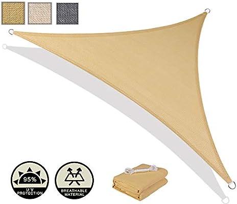 AXT SHADE Toldo Vela de Sombra Triangular 5 x 5 x 7 m, protección ...
