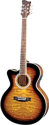 Jay Turser jta-424-qcet-lh-tsb Acoustic-electric Guitar, Left Handed , Tobacco Sunburst
