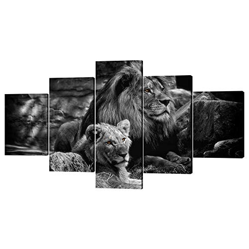 (Yatsen Bridge Framed Lion Pictures Wall Decor Modern 5 Panels White Black Lions Canvas Wall Art Easy to Hang Animal Posters for Living Room Bedroom Decor - 60''W x 32''H)