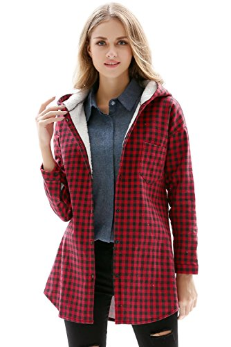 Women's Plaids Lined Hoodie Flannel Shirt Red X-Small = Tag M