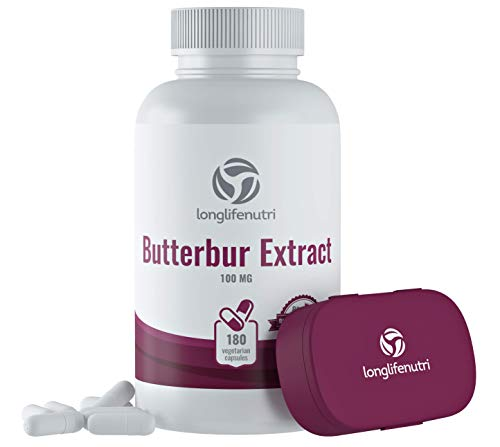 Butterbur Extract 100mg 180 Vegetarian Capsules   Made in USA   Natural Headache Supplement   Migraine and Allergy Relief   Supports Healthy Bladder and Inflammation   100 mg Pure Powder Pill Formula