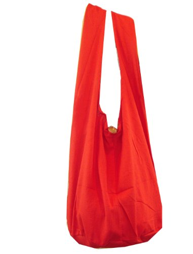 BTP! Thai Monk Buddha Cotton Sling Crossbody Messenger Bag Purse Hippie Hobo Solid Large (Red XL5)
