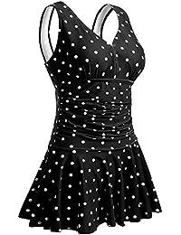 Women's Plus-Size Flower Printing Shaping Body One Piece Swim Dresses Swimsuit