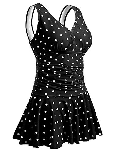 Size Polka Dot Shaping Body One Piece Swim Dresses Swimsuit L Black Polka Dot ()