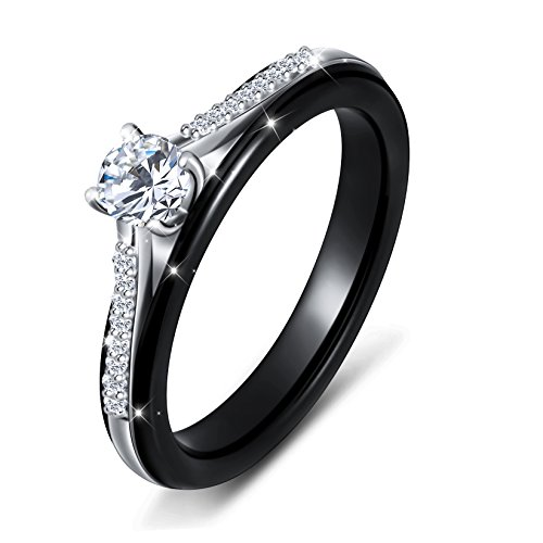 Ceramic S925 Sterling Silver Bridal Princess Ring for Women Wedding Engagement Ring Size: 7
