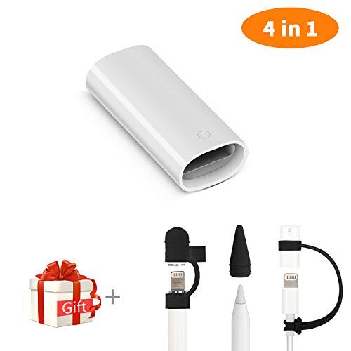Adaptador de Cuauco Compatible con lápiz de Apple y iPad Pro Adaptador de carga de cable Conector + Soporte de tapa /...