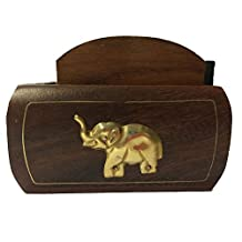 Nautical Hand Carved Wooden Drink Coasters Set of 6 in a Elephent Design Shaped Holder with Golden Border