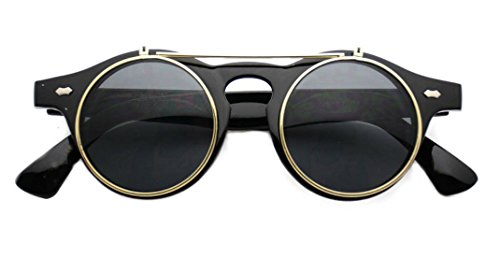 WebDeals - Circle Flip Up Glasses / Retro Steampunk Style (Black Gold, - Up Flip Glasses Retro