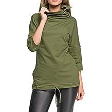 BIUBIU Women's Casual 3/4 Sleeve Cotton Turtle Neck Blouse Top with Pocket S-3XL