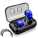 Eon Concepts Wireless Bluetooth 5.0 Earbuds TWS-8 Headphones | iPhone & Android Phone Compatible | Built in Mic | Detachable Ear Hooks | Portable Charging Case | 3D Stereo Sound | Smart Touch | Blue