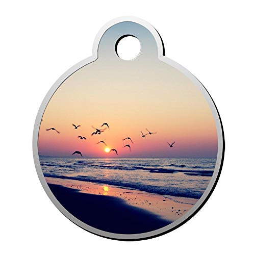 YHPQQ Personalized Collar Tag Pet ID Tags for Cat and Dog - Round Shape Sunset and Sea ()