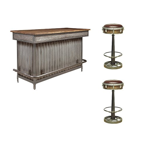 (Pulaski Wood and Metal Bar with 2 Drum Inspired Barstools)