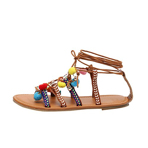 Sanyyanlsy Women Bohemian Ball Bell Pendant Swing Sandals Ethnic Embroidery Cross Bandage Hollow-Out Summer Sandals