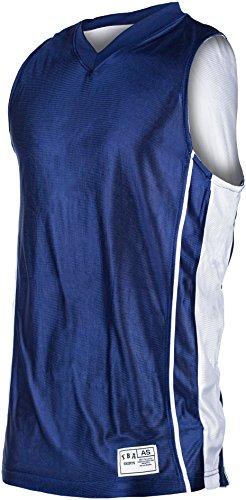 YBA Shirts Reversible Dry-Fit Basketball Jersey (Large, Navy/White)