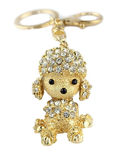 (BeeChamp Cute Poodle Dog Sparkling Blingbling Diamond Crystal Rhinestone Keychain Keyring Key Chain Purse Handbag Bag Car Pendant Hanging Charm (Clear))