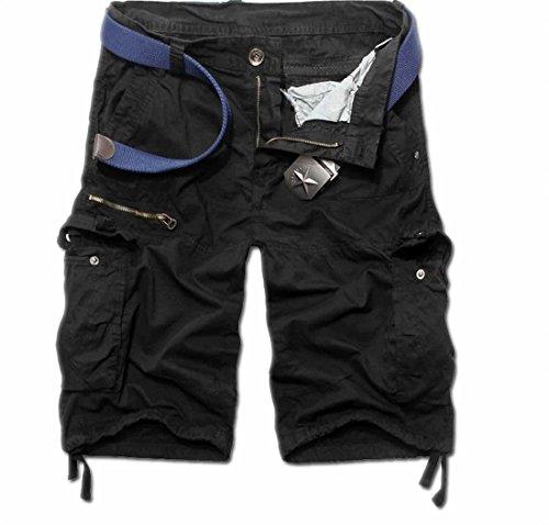 Vska Men's Fashion Rock Multi-Pocket Cargo Shorts Casual Pants 34 Black