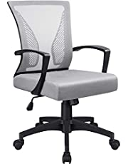 BOSSIN Office Chair Desk Chair Computer Chair Mid Back Swivel Chair Rolling Chair Adjustable Mesh Chair Ergonomic Home Office Chair Armrest Lumber Support for Adults Men Women (Gray)