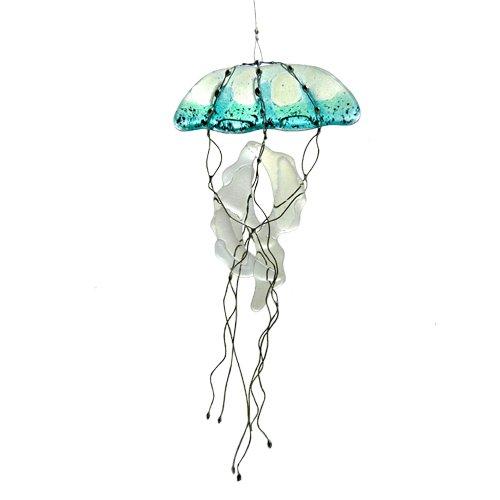 Modern Artisans Jellyfish Fused Glass Sun Catcher, Handmade in USA ()