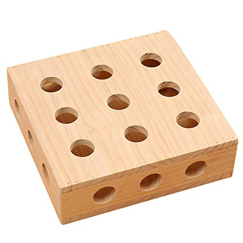 (Aslion Cats Toy Puzzle Box Wooden Eco-Friendly Multifunctional Pets Peek Play Toys Box)