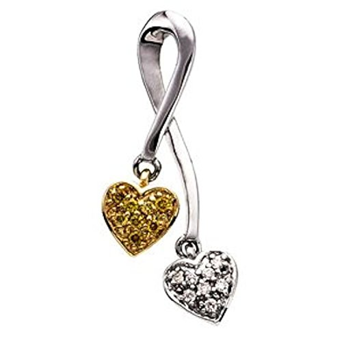.08 ct tw Natural Yellow & White Diamonds Double Heart Pendant in 14k White & Yellow Gold (0.08 Ct Heart Tw)