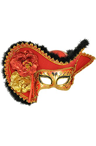 Womens Red Pirate Half Mask