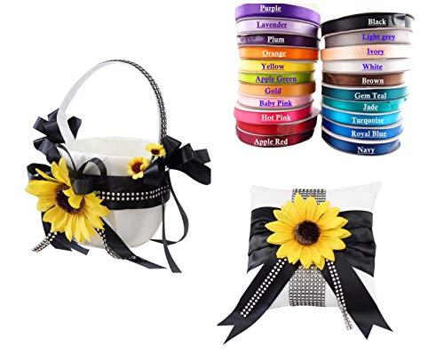 Angel Isabella Set of 2: Flower Girl Basket Ring Bearer Pillow Sunflower Bling Theme-Choose Ribbon Color (Navy Blue) ()