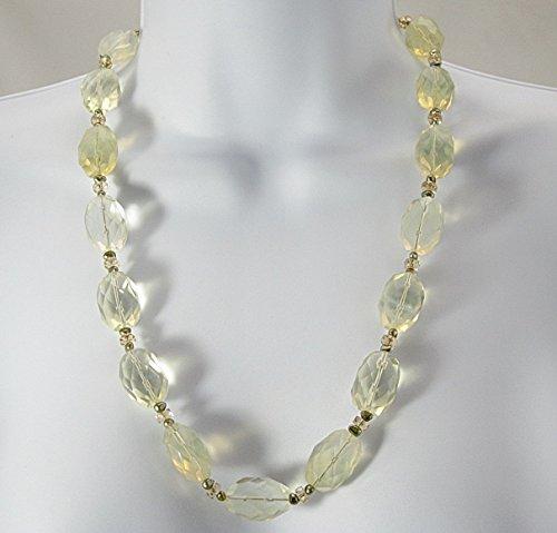 (Lemon quartz and freshwater pearl necklace)