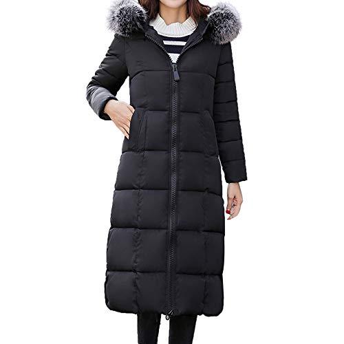 Laimeng_World Women Long Sleeve Outerwear Ladies Cotton-Padded Jackets Pocket Fur Hooded Long Coats Warm Windbreaker