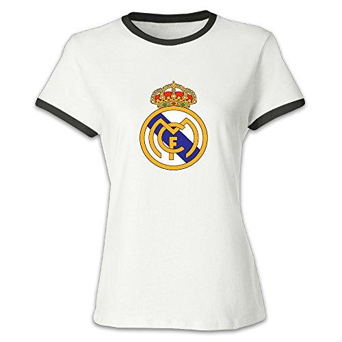 FENGTING Women's Real Madrid CF Logo Hit Color T-shirt XL Black Tee