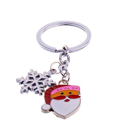 (BESTOYARD Cute Mini Santa Claus Snowflake Design Handbag Keychain Key Ring Decorative car Key Chain Trinket Souvenir Key Pendant)