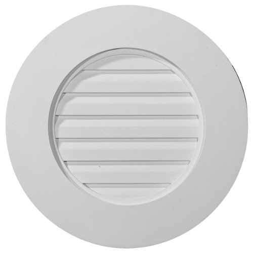Ekena Millwork GVRO27F 27-Inch W x 27-Inch H x 1 3/4-Inch P Plain Round Gable Vent Louver, - Louver Vent Gable Round
