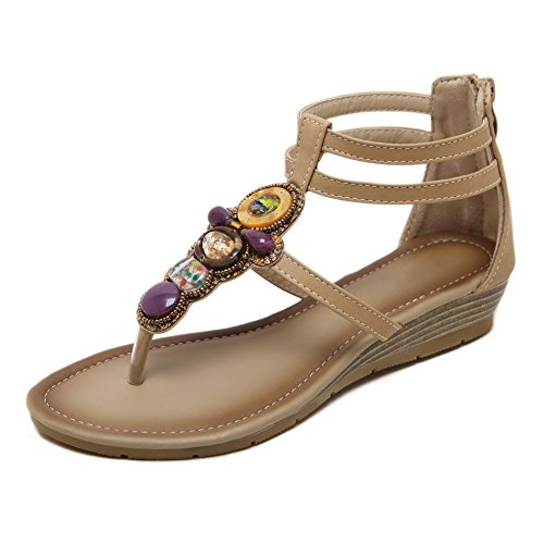 Urethane Sandals Hiking AdeeSu SLC04005 Apricot Womens Fashion Studded wqInZP6z