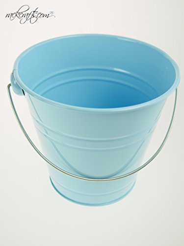 rackcrafts.com Large / XL Metal Sand Water Paint Pails Buckets Party Favor Wedding Baby Shower (XL - Light Blue) -