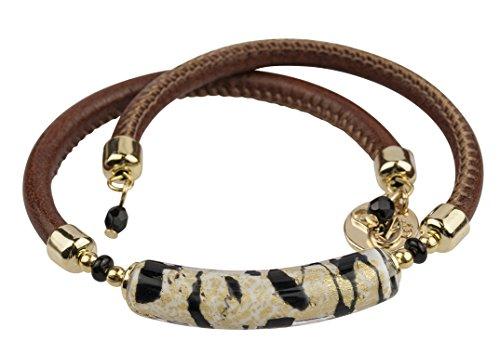 Glass Bracelet Gold Murano (Venetian Murano Glass Wrap Bracelet, 10 Inches, Brown, Gold & Black)