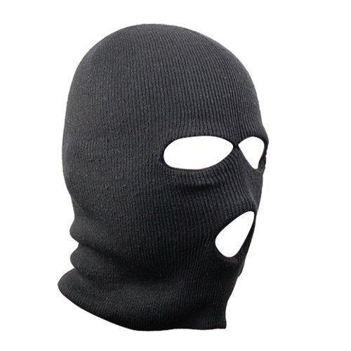 Accessotech Negro Pasamontañas SAS Estilo 3 Orificios Máscara Calentador Cuello Paintball Pesca Gorro Esquí