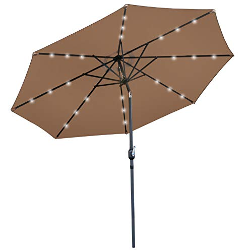 Nova Microdermabrasion 10 ft Solar LED Lighted Patio Outdoor Umbrella with Tilt Adjustment and Crank Lift, Perfect for Patio, Garden, Backyard, Deck, Poolside, Balcony and Beach (Burgundy Red) (Tan) For Sale